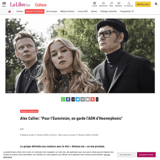 Alex Callier- -Pour l'Eurovision, on garde l'ADN d'Hooverphonic- - La Libre