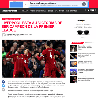 Liverpool está a 4 victorias de ser campeón de la Premier League