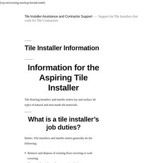 Tile Installer Information -