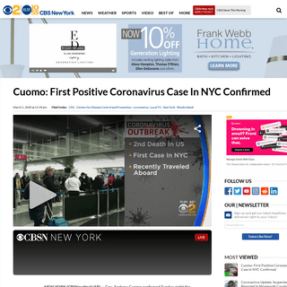 Cuomo- First Positive Coronavirus Case In NYC Confirmed – CBS New York