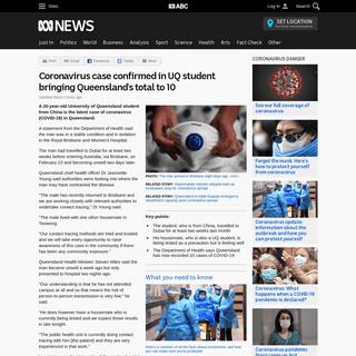 Coronavirus case confirmed in UQ student bringing Queensland's total to 10 - ABC News (Australian Broadcasting Corporation)