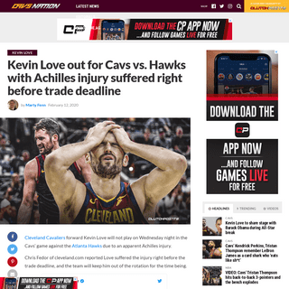 ArchiveBay.com - cavsnation.com/cavs-news-kevin-love-out-hawks-with-achilles-injury-suffered-right-before-trade-deadline/ - Cavs news- Kevin Love out with injury he suffered before trade deadline