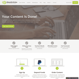 iNeedArticles.com - Easy, affordable content