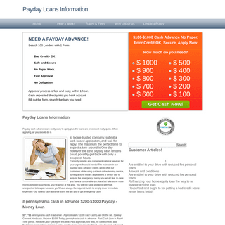 Payday Loans Information, $100-$1000 Cash advance No Paper, Poor credit OK, Secure, Apply Now