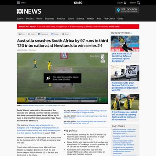 ArchiveBay.com - www.abc.net.au/news/2020-02-27/warner-smith-make-winning-return-newlands-aussies-win-t20-series/12005326 - Australia smashes South Africa by 97 runs in third T20 international at Newlands to win series 2-1 - ABC News (Australian Broadc