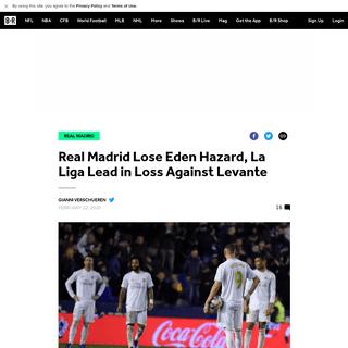 ArchiveBay.com - bleacherreport.com/articles/2877509-real-madrid-lose-eden-hazard-la-liga-lead-in-loss-against-levante - Real Madrid Lose Eden Hazard, La Liga Lead in Loss Against Levante - Bleacher Report - Latest News, Videos and Highlights