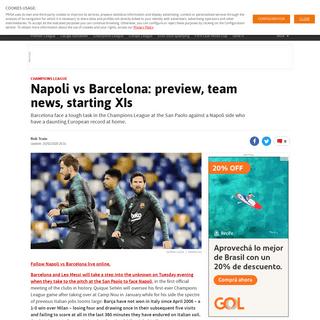 ArchiveBay.com - en.as.com/en/2020/02/25/football/1582639779_099359.html - Napoli vs Barcelona- preview, team news, starting XIs - AS.com