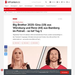 Big Brother 2020- Gina (19) aus Würzburg und Rene (44) aus Bamberg im Potrait - so lief Tag 1