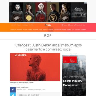 Changes- Justin Bieber lança 1º álbum após casamento e conversão; ouça