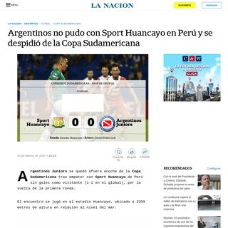 Argentinos no pudo con Sport Huancayo en Perú y se despidió de la Copa Sudamericana - LA NACION