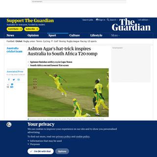 ArchiveBay.com - www.theguardian.com/sport/2020/feb/21/ashton-agars-hat-trick-inspires-australia-to-south-africa-t20-romp - Ashton Agar's hat-trick inspires Australia to South Africa T20 romp - Sport - The Guardian