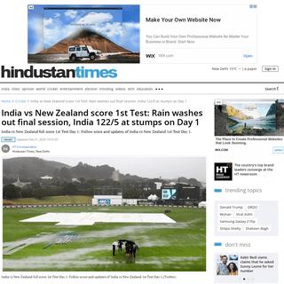 ArchiveBay.com - www.hindustantimes.com/cricket/india-vs-new-zealand-live-score-1st-test-match-day-1-at-wellington-ind-vs-nz-cricket-match-updates/story-nzyq1WQxW4syBBh03QpJJL.html - India vs New Zealand score 1st Test- Rain washes out final session, India 122-5 at stumps on Day 1 - cricket - Hindustan Times