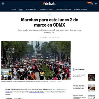 Marchas para este lunes 2 de marzo en CDMX - EL DEBATE