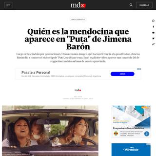 Quién es la mendocina que aparece en -Puta- de Jimena Barón - MDZ Online