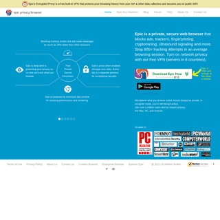 Epic Privacy Browser, a secure chromium-based web browser with Encrypted Proxy and AdBlock - a free, unlimited VPN private brows