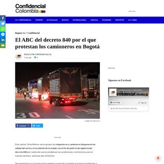 El ABC del decreto 840 por el que protestan los camioneros en Bogotá