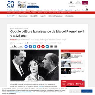Google célèbre la naissance de Marcel Pagnol, né il y a 125 ans