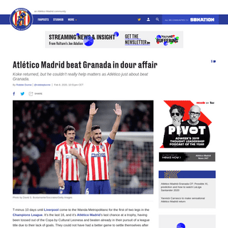 Atlético Madrid beat Granada in dour affair - Into the Calderon