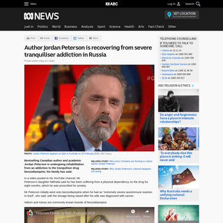 Author Jordan Peterson is recovering from severe tranquiliser addiction in Russia - ABC News (Australian Broadcasting Corporatio