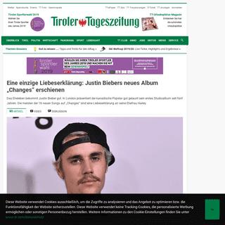 """Eine einzige Liebeserklärung- Justin Biebers neues Album """"Changes"""" erschienen - Tiroler Tageszeitung Online – Nachrichten"""