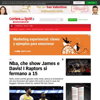 ArchiveBay.com - www.corrieredellosport.it/news/basket/nba/2020/02/13-66692152/nba_che_show_james_e_davis_i_raptors_si_fermano_a_15/ - Nba, che show James e Davis! I Raptors si fermano a 15 - Corriere dello Sport