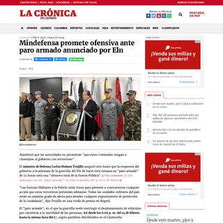 Mindefensa promete ofensiva ante paro armado anunciado por Eln La Crónica del Quindío - Noticias Quindío, Colombia y el mundo