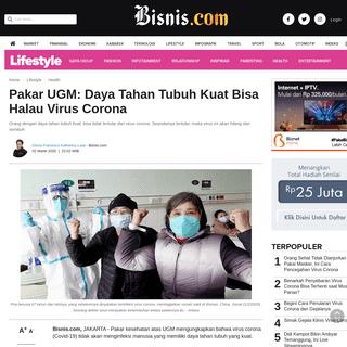 Pakar UGM- Daya Tahan Tubuh Kuat Bisa Halau Virus Corona - Lifestyle Bisnis.com