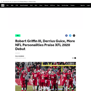Robert Griffin III, Derrius Guice, More NFL Personalities Praise XFL 2020 Debut - Bleacher Report - Latest News, Videos and High