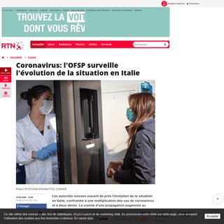 Coronavirus- l'OFSP surveille l'évolution de la situation en Italie - RTN votre radio régionale