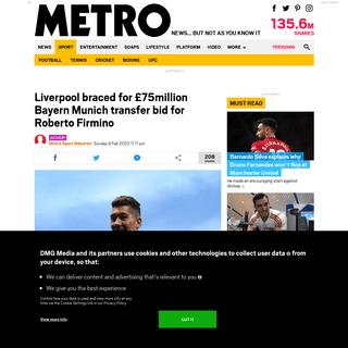 Liverpool braced for £75million Bayern Munich transfer bid for Roberto Firmino - Metro News