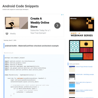 Android Code Snippets