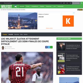L'AC Milan et Zlatan atteignent difficilement les demi-finales de Coupe d'Italie - Tout le foot - Walfoot.be