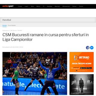 CSM Bucuresti ramane in cursa pentru sferturi in Liga Campionilor - Onlinesport.ro