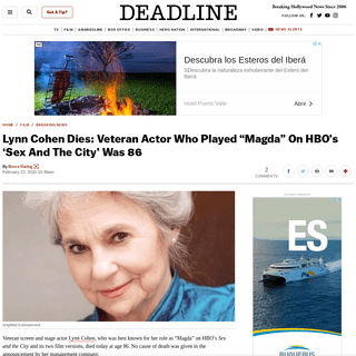 """Lynn Cohen Dies- Actor Who Played """"Magda"""" On 'Sex And The City' Was 86 – Deadline"""