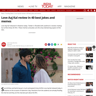 Love Aaj Kal review in 40 best jokes and memes - Trending News News