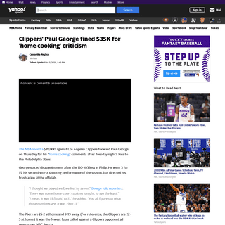 Clippers' Paul George fined $35K for 'home cooking' criticism