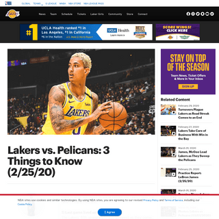 Lakers vs. Pelicans- 3 Things to Know (2-25-20) - Los Angeles Lakers
