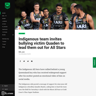 ArchiveBay.com - www.nrl.com/news/2020/02/20/indigenous-team-invites-bullying-victim-quaden-to-lead-them-out-for-all-stars/ - Indigenous team invites bullying victim Quaden to lead them out for All Stars - NRL
