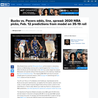Bucks vs. Pacers odds, line, spread- 2020 NBA picks, Feb. 12 predictions from model on 35-19 roll - CBSSports.com