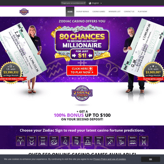 Zodiac Casino - 80 Chances to become an instant millionaire!