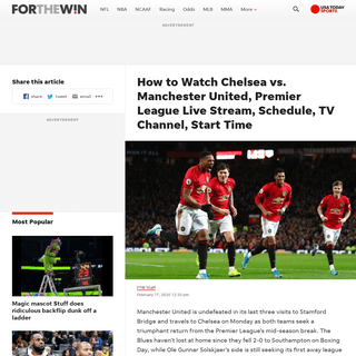 Chelsea vs. Manchester United Live Stream- TV Channel, How to Watch