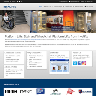 Platform lifts and wheelchair platform lifts from Invalifts