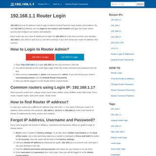 192.168.1.1 - 192.168.l.l ® Router Login