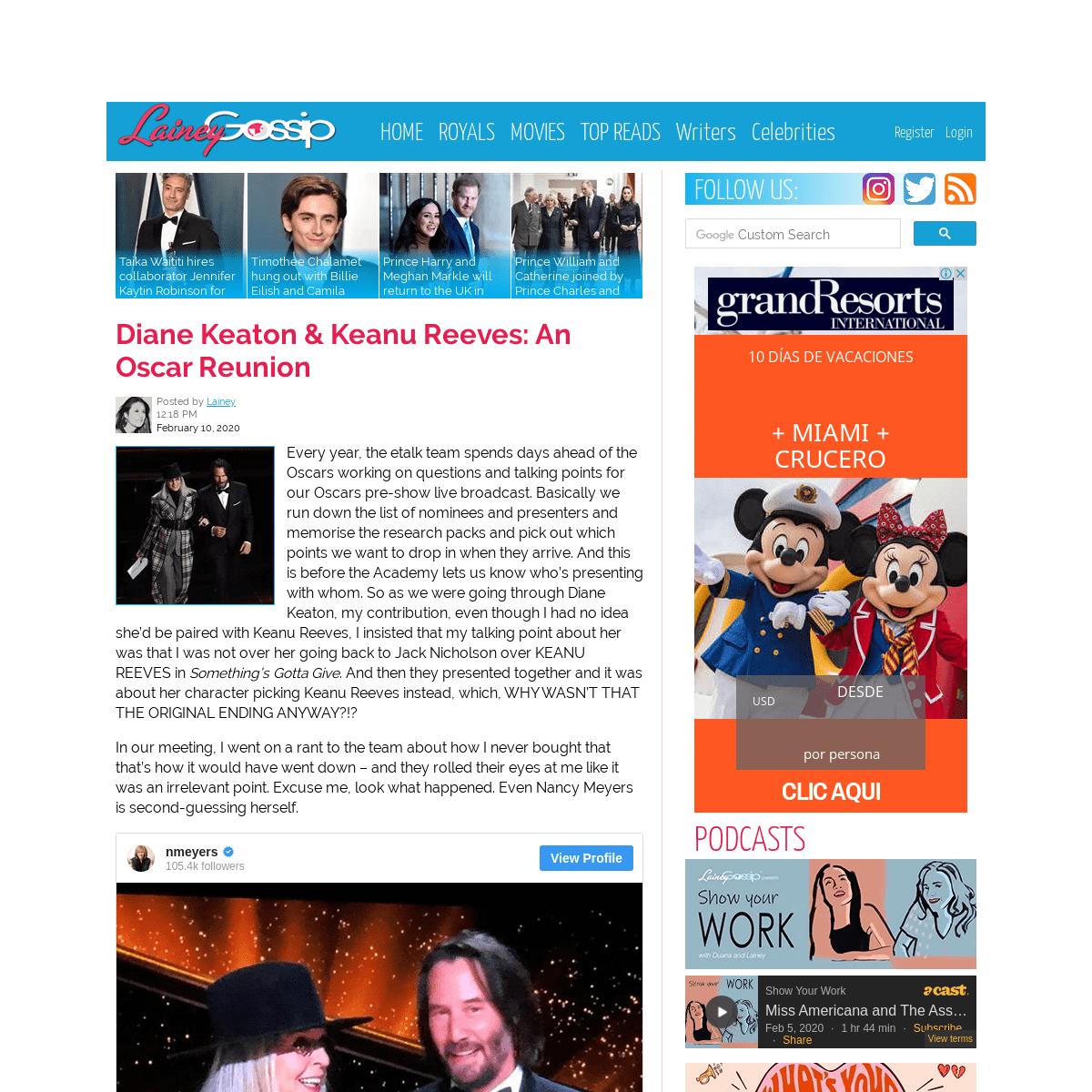 Diane Keaton & Keanu Reeves were reunited at the 2020 Oscars