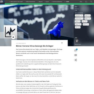 Börse- Corona-Virus besorgt die Anleger - BR24