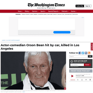 Orson Bean hit by car, killed in Los Angeles - Washington Times
