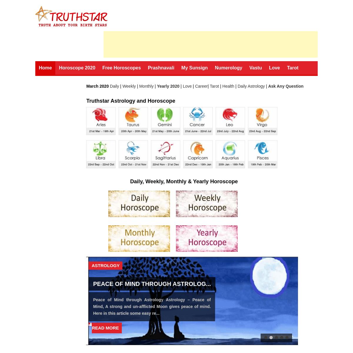 Truthstar- Free Horoscope, Online Astrology and Tarot