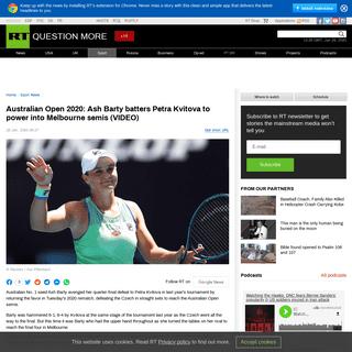 Australian Open 2020- Ash Barty batters Petra Kvitova to power into Melbourne semis (VIDEO) — RT Sport News