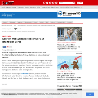 INDEX-FLASH- Konflikt mit Syrien lastet schwer auf Istanbuler Börse - FOCUS Online