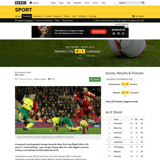 Norwich City 0-1 Liverpool- Unstoppable charge towards title continues - BBC Sport